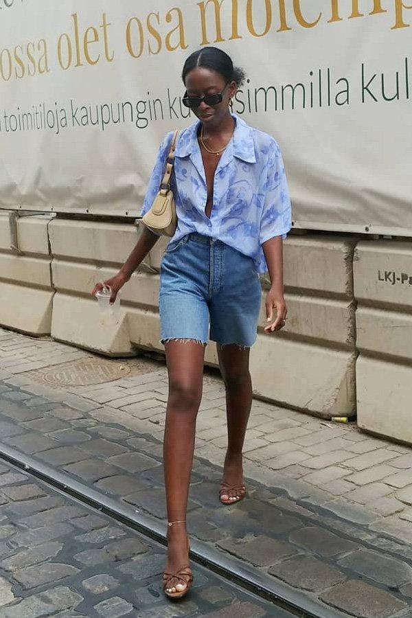Sylvie Mus - bermuda e camisa - dad shorts - verão - street style