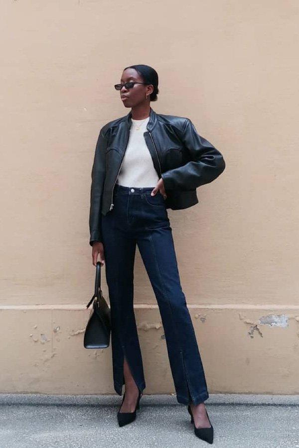 Sylvie Mus - jaqueta de couro - jaqueta de couro - meia-estação - street style