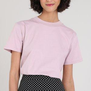 T-Shirt Feminina Mindset Ampla Manga Curta Decote Redondo Lilás