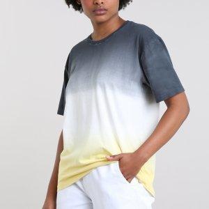 T-Shirt Feminina Mindset Ampla Tie Dye Degradê Manga Curta Decote Redondo Chumbo