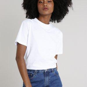 T-Shirt Feminina Mindset Gola Larga Manga Curta Branca