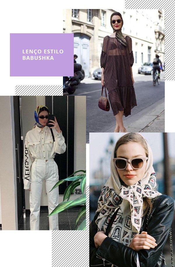 Ulyana Sergeenko, Kendall Jenner - babushka - lenço - verão - street style
