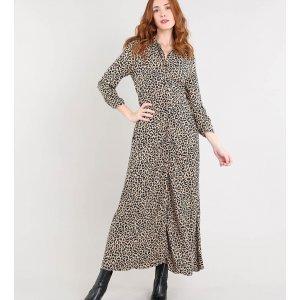Vestido Chemise Feminino Longo Estampado Animal Print Bege