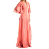 Vestido Longo Lala Dubi Manga Evasê Rosa