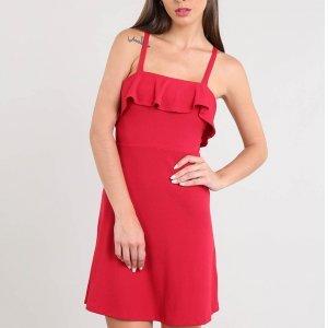 Vestido Feminino Curto Canelado Com Babado Alça Fina Vermelho