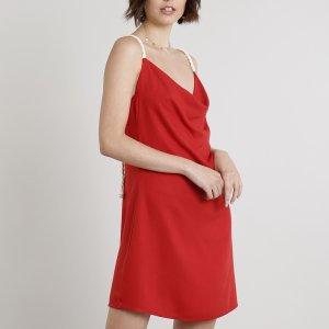 Vestido Feminino Curto Com Corda Gola Degagê Vermelho