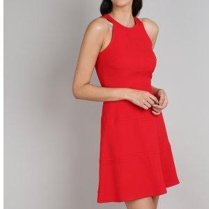Vestido Feminino Curto Com Recortes Alças Largas Vermelho