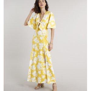 Vestido Feminino Longo Estampado Floral Com Nó E Fendas Manga Curta Amarelo