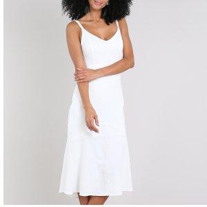 Vestido Feminino Midi Mullet Com Linho Alça Fina Off White
