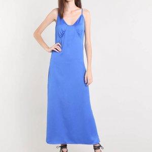 Vestido Slip Dress Feminino Mindset Longo Acetinado Azul Royal