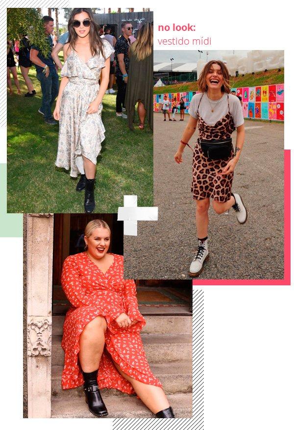 Hailee Steinfeld, Mariana Andrade, Felicity Hayward - vestido-midi - festival - inverno - street-style