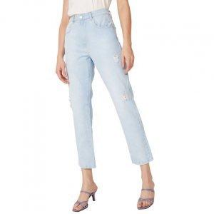 Calça Jeans Reta Com Puídos Leves