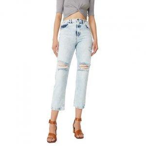 Calça Jeans Slim Com Rasgos