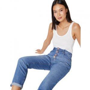 Calça Jeans Mom Com Botões