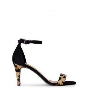 Sandália Salto Fino De Couro