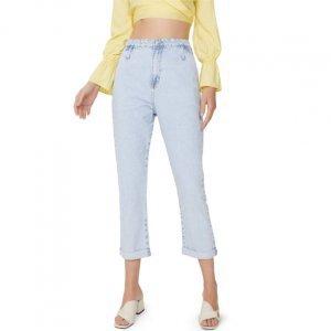 Calça Jeans Reta Passantes Deslocados