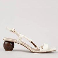sandália feminina oneself salto baixo em corda off white