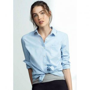 Camisa Feminina Básica Bordada Em Tecido De Algodão Hering