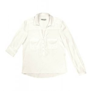 Camisa Básica Feminina Com Bolsos Frontais