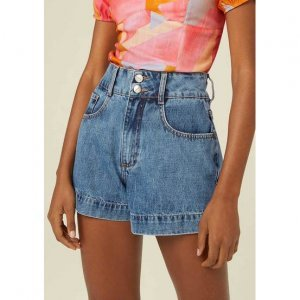 Shorts Jeans Cintura Alta Com Bolsos