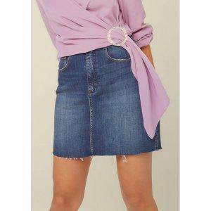 Saia Jeans Cintura Alta Com Detalhe Used