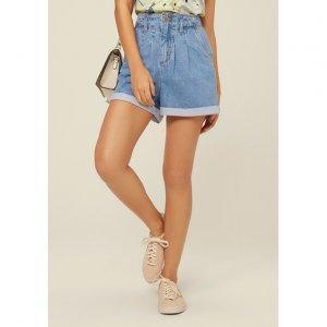 Shorts Jeans Cintura Alta Com Pregas