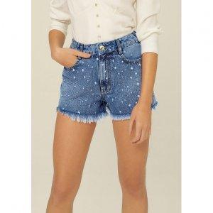 Shorts Jeans Cintura Média Com Estampa