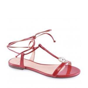 Sandália Flat La Femme Verniz Amarração Heart Vermelha