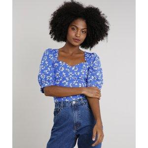 Blusa Feminina Mindset Estampada Floral Manga Bufante Decote Princesa Azul