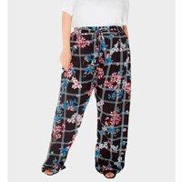 calça pantalona xadrez floral plus size