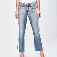Calça Jeans Reta Cropped Cintura Média