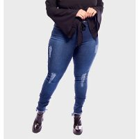 calça jeans cintura alta super skinny destroyed plus size - azul-54