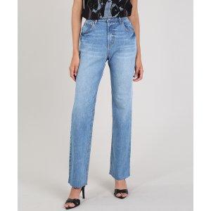 Calça Jeans Feminina Mindset Reta Azul Médio