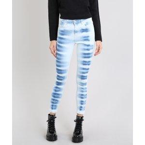 Calça Jeans Feminina Super Skinny Tie Dye Azul Claro