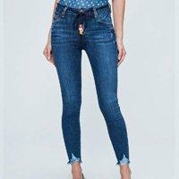 Calça Jeans Jegging Cropped Destroyed