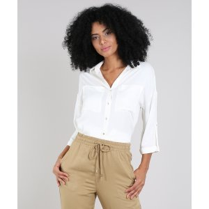 Camisa Feminina Com Bolsos Manga 7/8 Off White