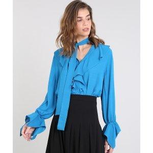 Camisa Feminina Mindset Ampla Com Babados Manga Longa Azul