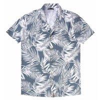 Camisa Masculina Manga Curta Floral - Azul