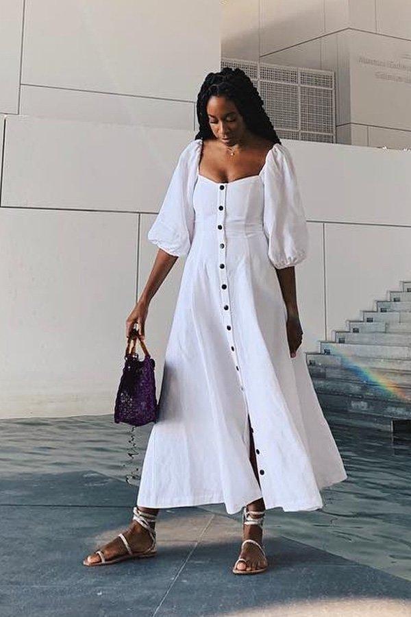 Chrissy Rutherford - vestido de botões - vestido de botões - verão - street style