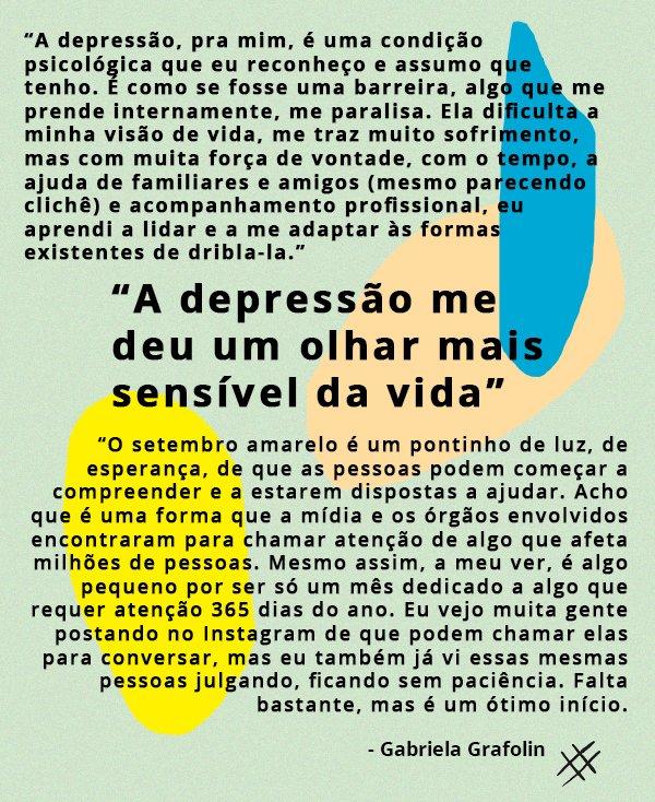 Gabriela Grafolin - depressão - setembro amarelo - depoimento - comportamento