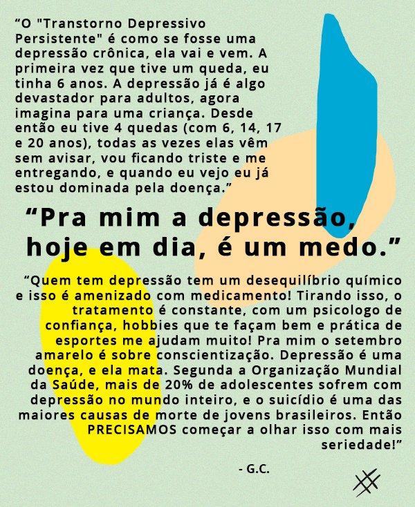 depoimento - depressão - setembro amarelo - depoimento - comportamento