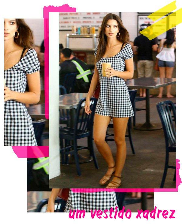 Emily Ratajkowski - vestido-vichy - vichy - verão - street-style