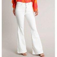 calça de sarja feminina flare com botões off white