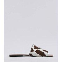 rasteira slide feminina mindset animal print vaca em couro bege