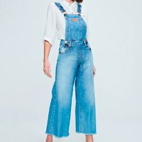 Jardineira Jeans Cropped Feminina
