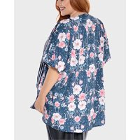 kimono floral plus size - azul-44/46