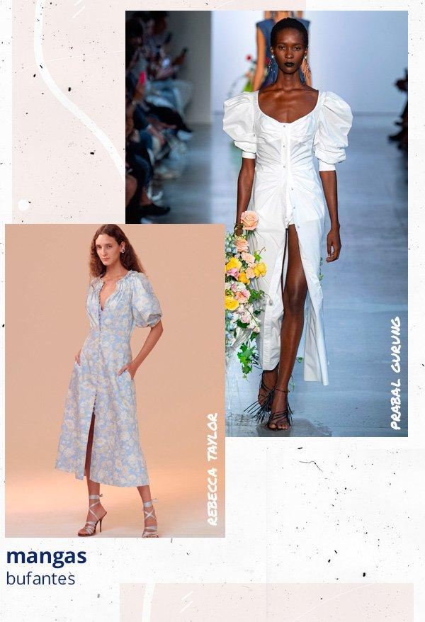 modelo - vestido - manga-bufante - verão - passarela