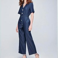 Macacão Jeans Cropped com Botões e Cinto