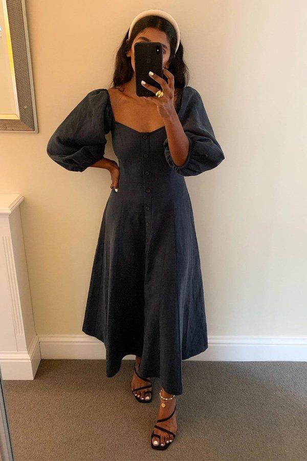Monikh Dale - vestido de botões - vestido de botões - verão - street style