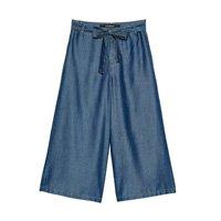 Pantacourt Jeans com Amarração Feminina